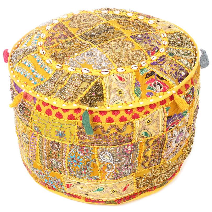 "Round Yellow Embroidered Pouf Pouffe Ottoman Boho Decorative Cover - 22 X 12"""