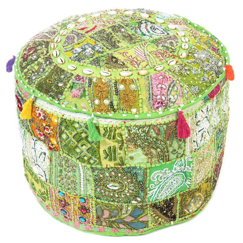 "Green Decorative Embroidered Pouf Pouffe Ottoman Decorative Bohemian Cover - 22 X 12"""