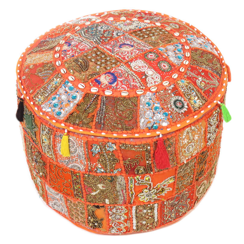 Round Orange Embroidered Pouf Pouffe Ottoman Boho Decorative Cover - 22 X 12""