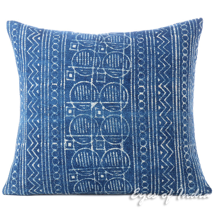 Indigo Blue Decorative Pillow Block Print Cushion Floor Couch Sofa Throw Cover - 20, 24""