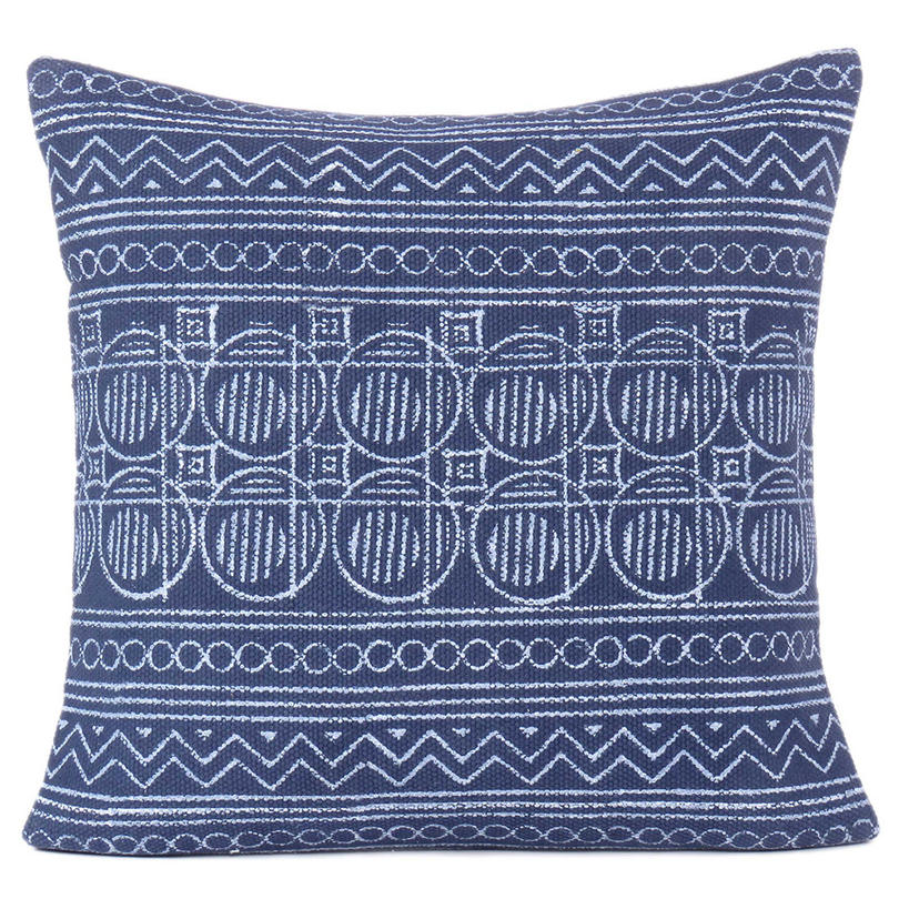 "Indigo Blue Decorative Pillow Block Print Cushion Floor Couch Sofa Throw Cover - 20, 24"""