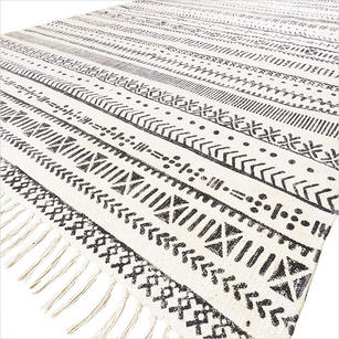 White Black Cotton Block Print Area Accent Dhurrie Boho Flat Weave Woven Rug - 4 X 6 ft