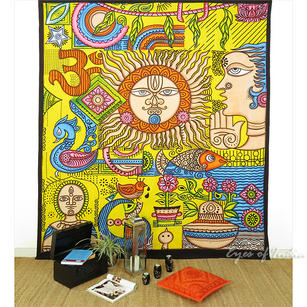 Double Queen Yellow Hippie Indian Mandala Tapestry Bedspread Beach Dorm Bohemian Boho