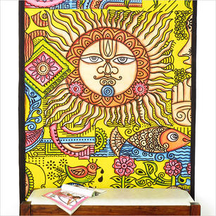 Single Twin Yellow Indian Tribal Mandala Tapestry Bedspread Beach Dorm Bohemian Accent Boho Chic Handmade