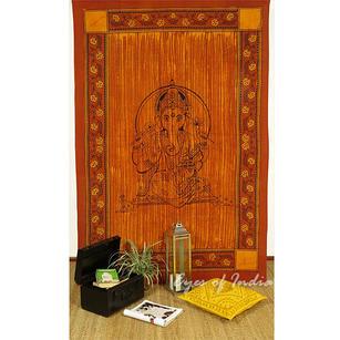 Single Twin Brown Indian Elephant Mandala Ganesha Tapestry Wall Hanging Picnic Bohemian Boho