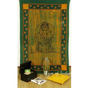Single Twin Green Elephant Hippie Mandala Ganesha Tapestry Wall Hanging Picnic Bohemian Boho Indian