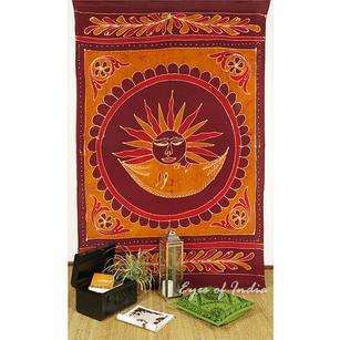 Single Twin Burgundy Red Elephant Hippie Mandala Sun Tapestry Wall Hanging Picnic Bohemian Boho Indian