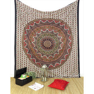 Double Queen Black Elephant Indian Mandala Tapestry Bedspread Beach Dorm Bohemian Boho