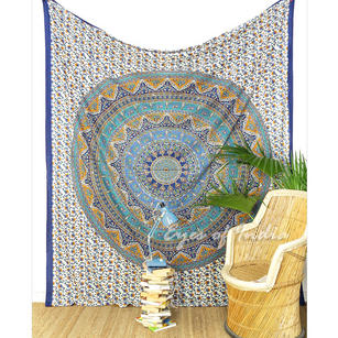 Double Queen Blue Elephant Indian Mandala Tapestry Bedspread Beach Dorm Bohemian Boho