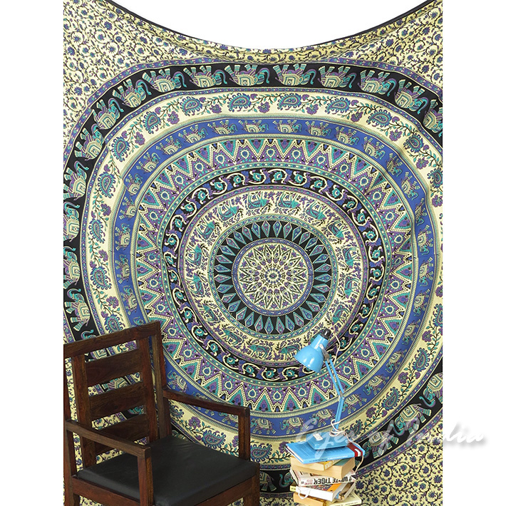 Black Mandala Hippie Wall Hanging Tapestry Bedspread-Queen/Double