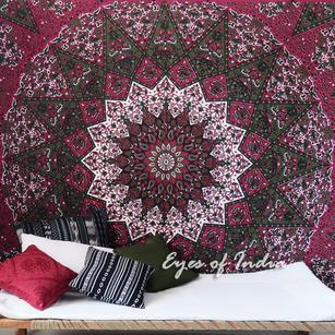 Double Queen   Red Hippie Indian Mandala Tapestry Bedspread Beach Blanket Dorm Bohemian Boho