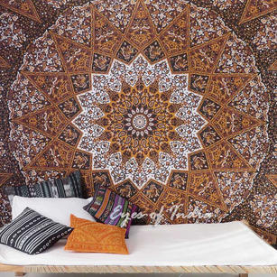 Double Queen Brown Indian Hippie Mandala Tapestry Hanging Picnic Bohemian Boho Colorful