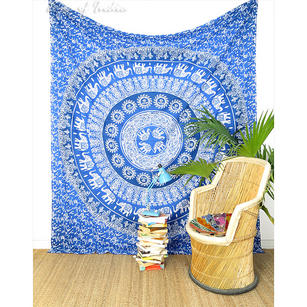 Double Queen Blue Ombre Mandala Elephant Tapestry Bedspread Beach Boho Bohemian Indian