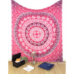Double Queen   Ombre Mandala Elephant Tapestry Bedspread Beach Indian Bohemian Boho