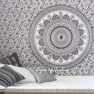 Single Twin White Black Mandala Ombre Wall Hanging Tapestry Bedspread Bohemian Indian Beach Boho