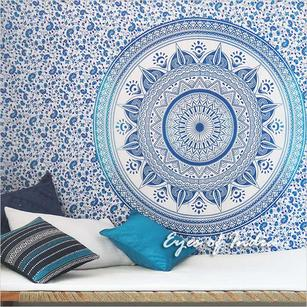 Single Twin White Blue Mandala Ombre Wall Hanging Tapestry Bedspread Bohemian Indian Beach Boho