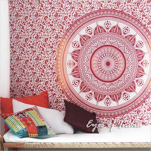 Single Twin White Orange Mandala Ombre Wall Hanging Tapestry Bedspread Bohemian Indian Boho Throw