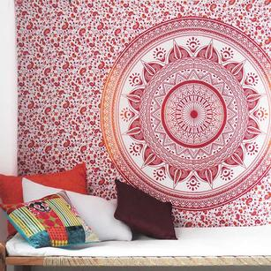 Single Twin White Orange Mandala Ombre Wall Hanging Tapestry Bedspread Bohemian Accent Indian Boho Chic Throw Handmade