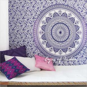 Single Twin White Purple Mandala Ombre Wall Hanging Tapestry Bedspread Beach Boho Bohemian Indian Throw