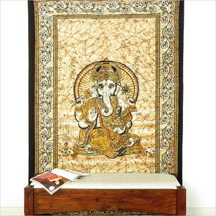 Single Twin Brown Elephant Hippie Mandala Ganesha Tapestry Wall Hanging Picnic Bohemian Boho Indian