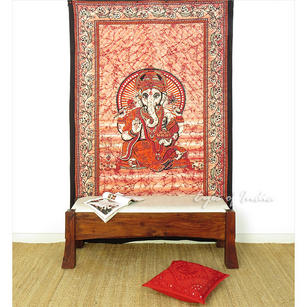 Single Twin Orange Hippie Indian Mandala Ganesha Tapestry Wall Hanging Picnic Bohemian Boho