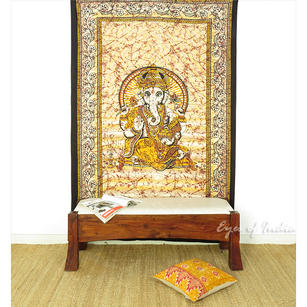 Single Twin Yellow Elephant Hippie Mandala Ganesha Tapestry Hanging Picnic Bohemian Boho Indian