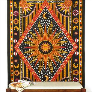Single Twin Black Indian Hippie Mandala Sun Moon Tapestry Hanging Picnic Bohemian Boho