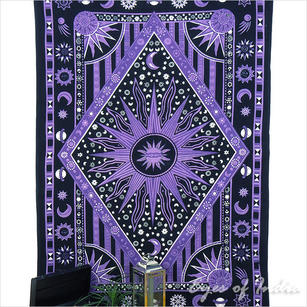 Single Twin Purple Hippie Indian Mandala Sun And Moon Tapestry Wall Hanging Picnic Bohemian Accent Boho Chic Handmade