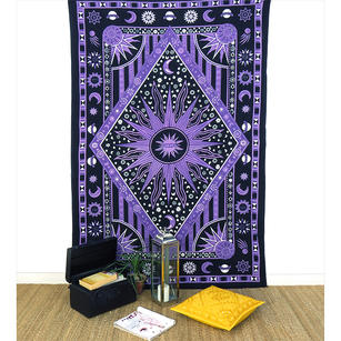 Single Twin Purple Hippie Indian Mandala Sun And Moon Tapestry Wall Hanging Picn