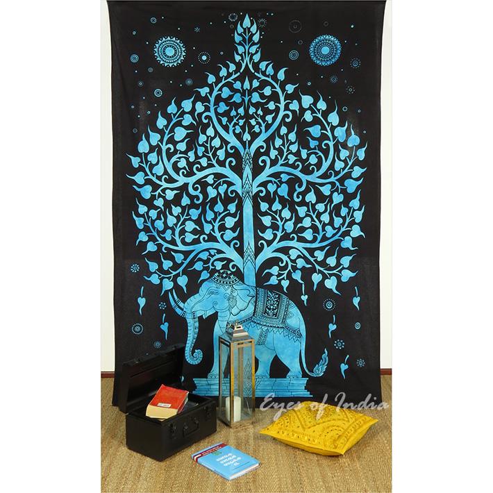 Single Twin Blue Indian Hippie Mandala Elephant Tree Of Life Tapestry Wall Hanging Picnic Bohemian Boho