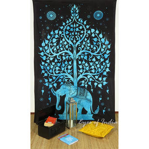 Single Twin Blue Indian Hippie Mandala Elephant Tree Of Life Tapestry Wall Hanging Picnic Bohemian Boho