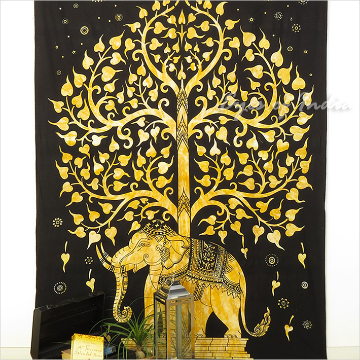 Single Twin Brown Indian Hippie Mandala Elephant Tree Of Life Tapestry Bedspread Beach Dorm Bohemian Boho