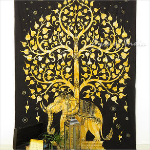 Single Twin Brown Indian Hippie Mandala Elephant Tree Of Life Tapestry Bedspread Beach Dorm Bohemian Boho