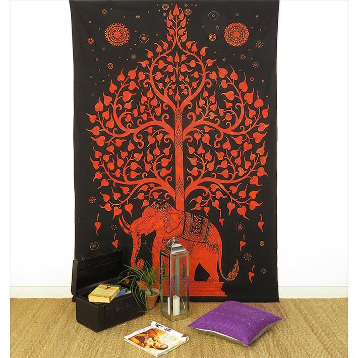 Single Twin Orange Hippie Indian Mandala Elephant Tree Of Life Tapestry Hanging Picnic Bohemian Accent Boho Chic Handmade