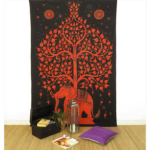 Single Twin Orange Hippie Indian Mandala Elephant Tree Of Life Tapestry Hanging Picnic Bohemian Accent Boho Chic Handmade