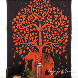 Single Twin Orange Hippie Indian Mandala Elephant Tree Of Life Tapestry Hanging Picnic Bohemian Boho