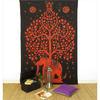 Single Twin Orange Hippie Indian Mandala Elephant Tree Of Life Tapestry Hanging Picnic Bohemian Accent Boho Chic Handmade 1