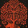 Single Twin Orange Hippie Indian Mandala Elephant Tree Of Life Tapestry Hanging Picnic Bohemian Accent Boho Chic Handmade 3