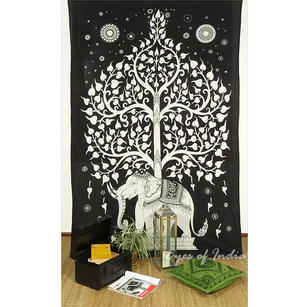 Single Twin White Indian Hippie Mandala Elephant Tree Of Life Tapestry Hanging Picnic Bohemian Boho