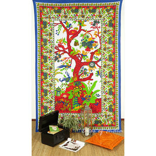 Single Twin White Hippie Indian Mandala Tree Of Life Tapestry Bedspread Beach Blanket Dorm Bohemian Boho