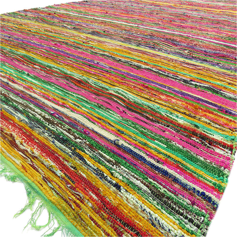 "Green Decorative Colorful Chindi Woven Area Bohemian Boho Rag Rug - 5 X 8"""