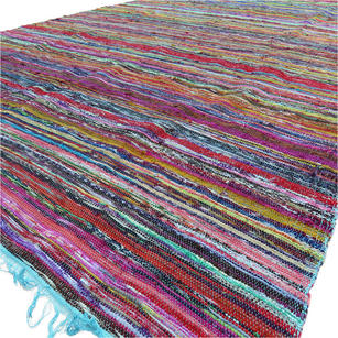 Blue Decorative Colorful Boho Chindi Woven Area Rag Rug - 5 X 8""