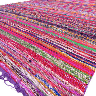 Purple Decorative Colorful Boho Bohemian Chindi Woven Area Rag Rug - 5 X 8""