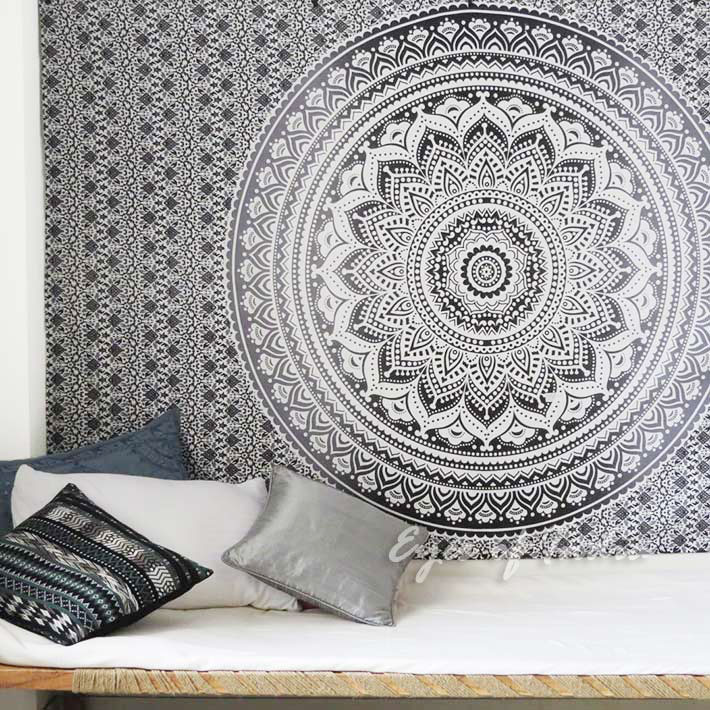 Black White Mandala Wall Hanging Ombre Tapestry Bedspread Beach-Twin/Queen