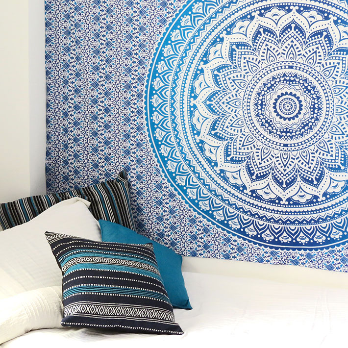 Blue White Ombre Mandala Wall Hanging Tapestry Bedspread Beach Bohemian-Twin/Queen