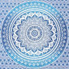 Blue White Ombre Mandala Wall Hanging Tapestry Bedspread Beach Bohemian-Twin/Queen 7