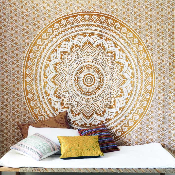 Brown White Mandala Ombre Wall Hanging Tapestry Bedspread Beach-Twin/Queen