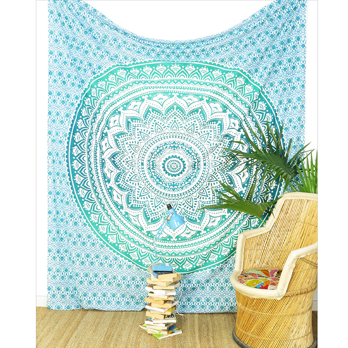 Green White Ombre Mandala Wall Hanging Tapestry Bedspread Beach-Twin/Queen