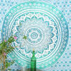 Green White Ombre Mandala Wall Hanging Tapestry Bedspread Beach-Twin/Queen 3