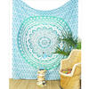 Green White Ombre Mandala Wall Hanging Tapestry Bedspread Beach-Twin/Queen 1